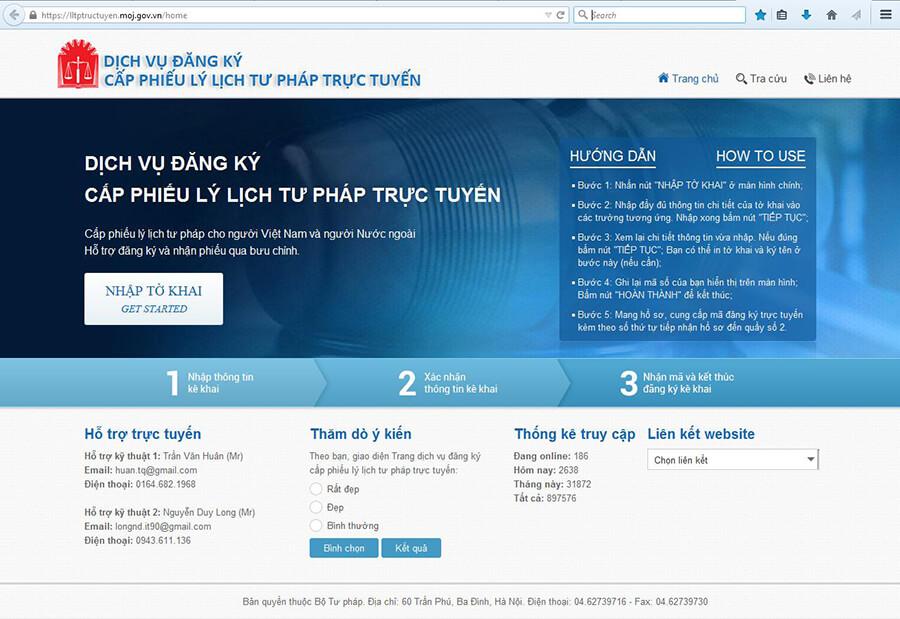 Giao diện chính của trang web đăng ký lý lịch tư pháp trực tuyến