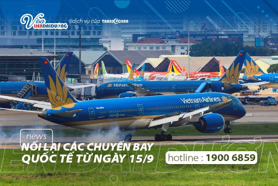 Việt Nam nối lại các chuyến bay thương mại quốc tế từ 15/09